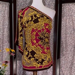Cache gold and red floral one-shoulder top.